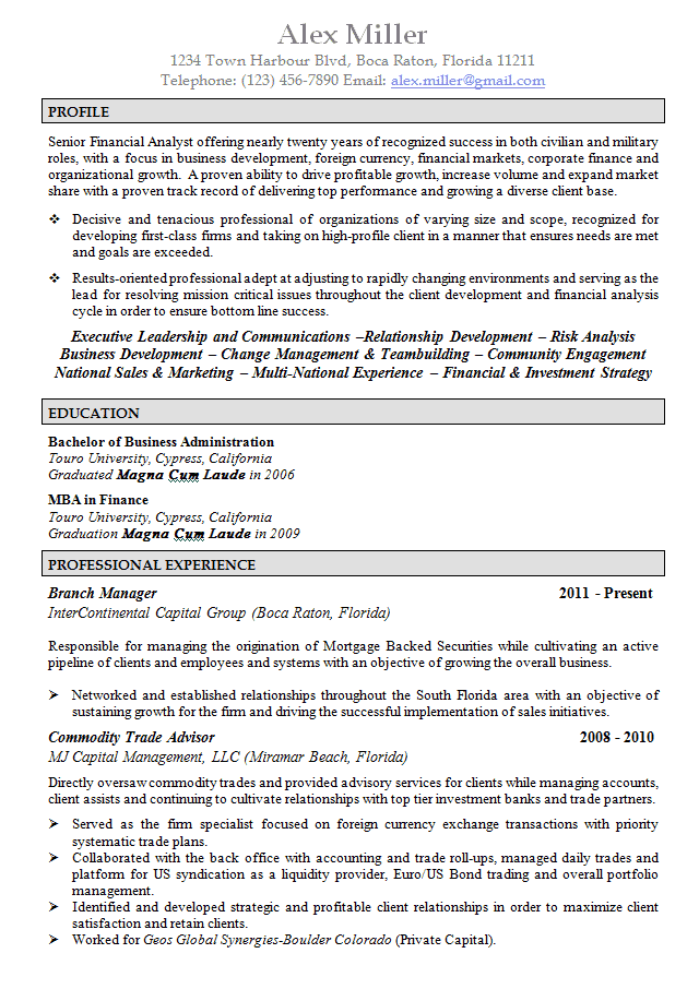 ... Federal Job Resume Template